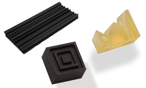 image of several rubber products made by the NC and spinning lathe machine