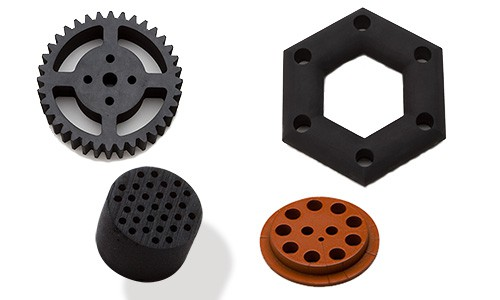 image of several rubber products made by the drilling process