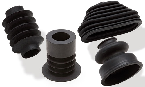 image of several rubber products made by spinning lathe machine