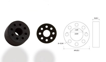 image of cylinder rubber with holes