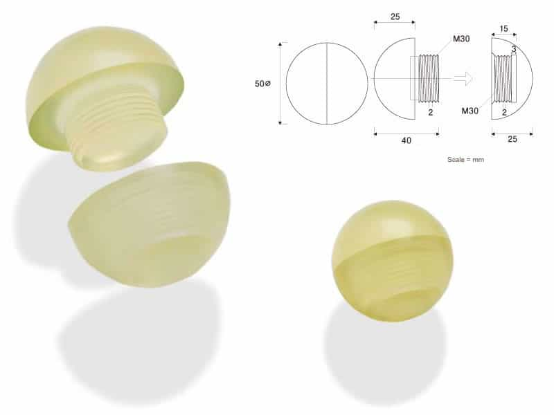 image of yellow rubber ball threaded urethane rubber