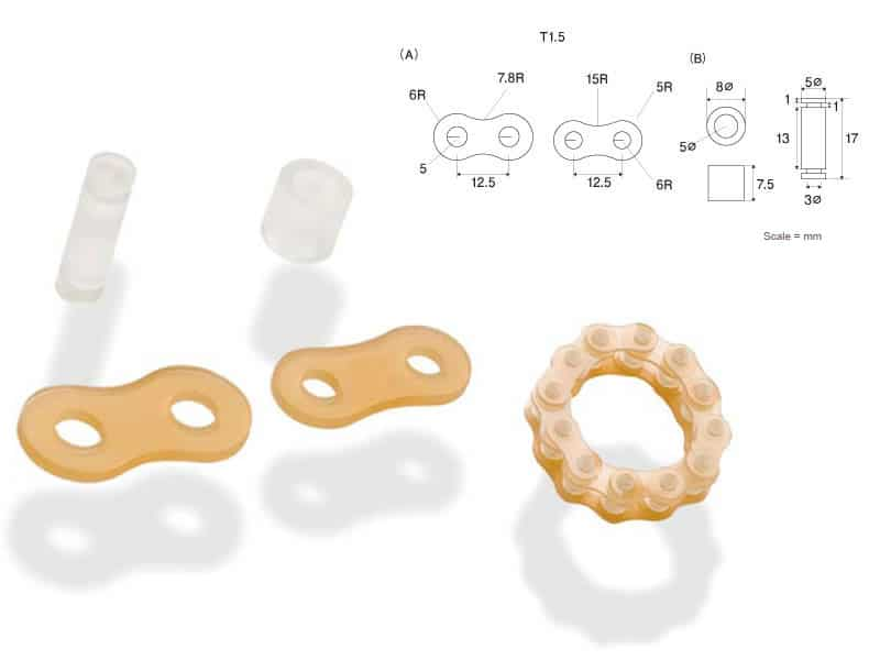 image of chain part made of urethane rubber material